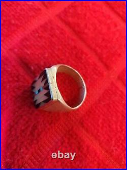 Vintage Mens Sterling Silver Ring Size 9.5 Zuni Tribal Made
