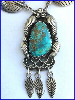 Vintage Native Amer Navajo Hand Made Sterling Feather & Turquoise Necklace EB
