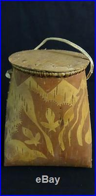 Vintage Native American Hand Made Birch Bark Pouch Probably From Maine
