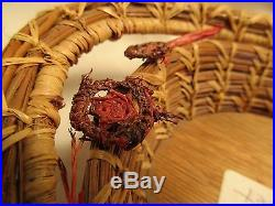 Vintage Native American Hand Made Pine Needle Basket, Seminole Indian Chi X-336