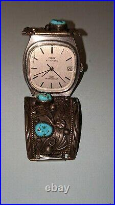 Vintage Native American Hand Made Sterling Silver Watch Band with Timex Marked
