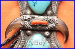 Vintage Native American Hand Made Turquoise Coral Claw Sterling Silver Bolo Tie