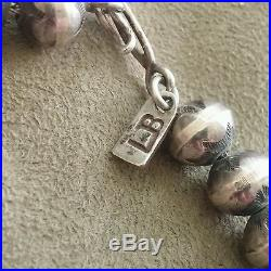 Vintage Native American Old Pawn Silver Bead Necklace(Graduated Hand-Made Beads)