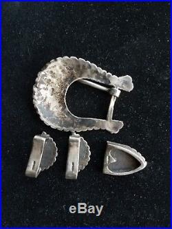 Vintage Native American Sterling Silver Ranger Belt Buckle Set 4 piece Hand Made