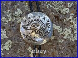 Vintage Navajo Bolo tie Tribal Symbols Eagle Hand Made Native American Signed