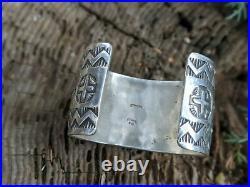 Vintage Navajo Cuff Bracelet Sterling Hand Made Signed Elvira Bill Jewelry