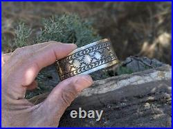 Vintage Navajo Cuff Bracelet Sterling Silver Hand Made Jewelry Unisex