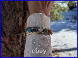 Vintage Navajo Cuff Bracelet Turquoise Sterling Silver Hand Made Jewelry