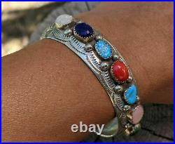 Vintage Navajo Cuff Bracelet Turquoise Sterling Silver Hand Made Jewelry sz 6.5