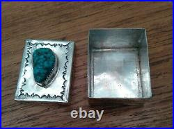 Vintage Navajo Hand Made Pill Box Spiderweb Turquoise Jewelry Native American