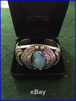 Vintage Navajo Hand Made Sterling Silver Turquoise Cuff Bracelet