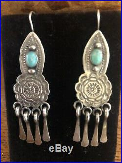 Vintage Navajo Hand Made Sterling Silver Turquoise Earrings-Beautiful Stamp Work