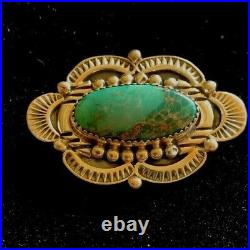 Vintage Navajo Hand Made Sterling Silver and Turquoise Brooch Richard Begay