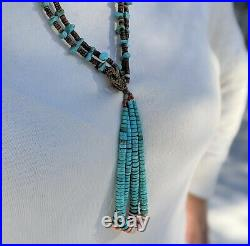 Vintage Navajo Jacla Turquoise Heishi Necklace Hand Made SouthWest Kewa Jewelry