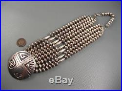 Vintage Navajo Jimmy Begay Hand Made Sterling 4 Strand Bead Necklace 136 Grams