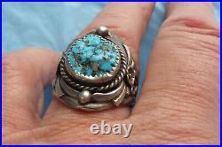 Vintage Navajo John Delvin Sterling Hand Made Turquoise Men's Ring Sz 11.75