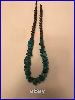 Vintage Navajo Made Turquoise & Sterling Silver Bead Necklace 18 Kingman Dark