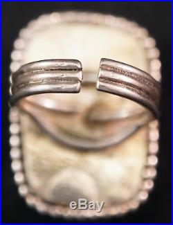 Vintage Navajo Native American Made Sterling Silver HUGE Piece of Turquoise Ring