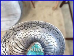 Vintage Navajo Native American Sterling Hand Made Turquoise Belt Buckle 45 Grams
