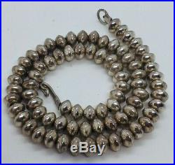 Vintage Navajo Native American Sterling Silver Hand Made Beaded Necklace 14.5
