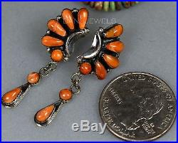 Vintage Navajo Old Pawn Hand Made Spiny Oyster STERLING Dangle Earrings