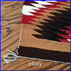 Vintage Navajo Reservation Rug 20 x 38 Native American Hand Made Rug Weaving