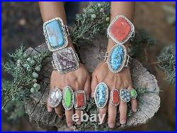 Vintage Navajo Ring Royston Turquoise Hand Made Native American Jewelry sz 8.5