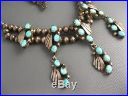 Vintage Navajo Sterling Natural Turquoise Hand Made Beads Squash Necklace