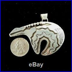 Vintage Navajo Sterling Silver Large Spirit Bear Naja 3-d Pendant Hand Made