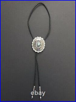 Vintage Navajo Sterling Silver Turquoise Bolo Tie, Native American Made