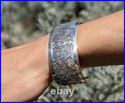 Vintage Navajo Story Teller Cuff Bracelet Sterling Hand Made Signed Jewelry