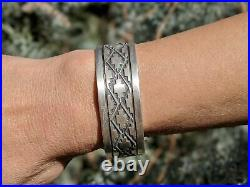 Vintage Navajo Tribal Cuff Bracelet Sterling Silver Hand Made Jewelry Unisex