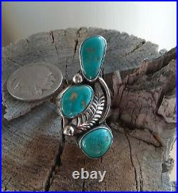 ++ Vintage Old Pawn Native American Navajo Made Silver Turquoise Ring Classic ++