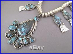 Vintage Pawn Navajo Sterling Turquoise Squash Blossom Necklace Native Made USA