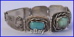 Vintage Pawn Navajo Turquoise Sterling Silver Hand Made Stamped Leaf Bracelet