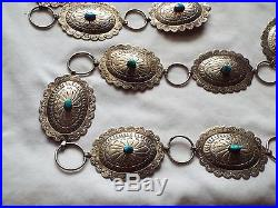 Vintage STERLING SILVER & Turquoise Native American NAVAJO Made CONCHO BELT
