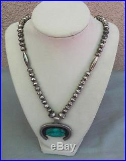 Vintage Silver Native American Bench Made Bead Necklace 24 1/2