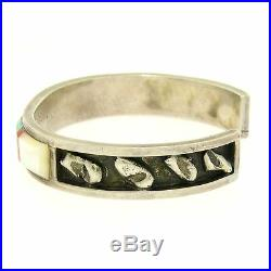 Vintage Sterling Silver Hand Made Panteah Zuni Turquoise Coral MoP Cuff Bracelet