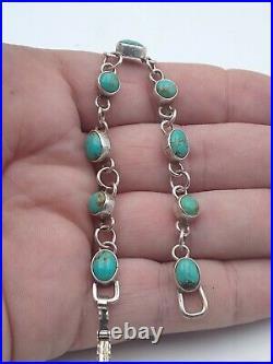 Vintage Sterling Silver Navajo Made Turquoise Link Bracelet 7 In