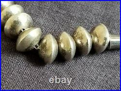 Vintage Sterling Silver Navajo Necklace Disc Saucer Bench Made Beads Handmade