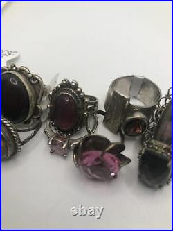 Vintage Sterling Silver Ring Lot Of 10 Native American Navajo Hand Made