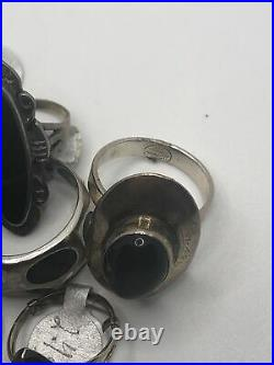 Vintage Sterling Silver Ring Lot Of 10 Onyx Native American Navajo Hand Made