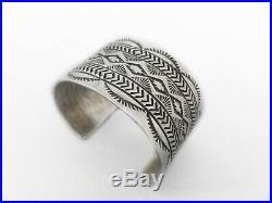 Vintage Sterling silver Native American Cuff braceletmade by R. E (99.3 gram)