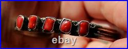 Vintage Sylvia Chee Navajo Red Coral Hand Made Sterling Silver Cuff Bracelet