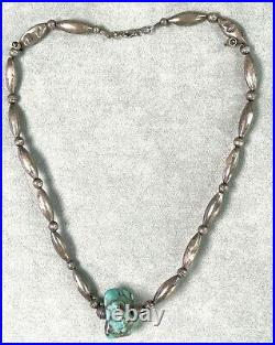 Vintage Turquoise16.5 Sterling Bead Necklace of Hand Made Melon & Bench Beads