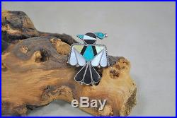 Vintage Zuni Made Sterling Silver Inlay Thunderbird Pin