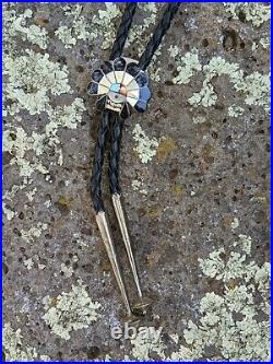 Vintage Zuni Sun Face Inlay Bolo tie Native American Signed Hand Made