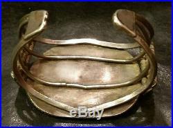 Vintage large Turquoise hand made bracelet Navajo Sterling NICE LOOK