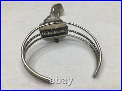 Vintage sterling silver Navajo hand made tigers eye & turquoise Slave Bracelets