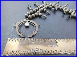 Vtg 1900 HAND MADE STAMPED SILVER BENCH BEADS Squash Blossom Turquoise Necklace